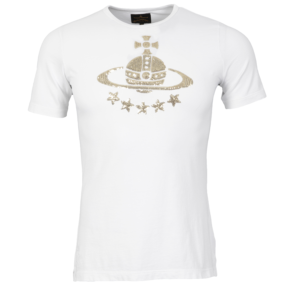 classic styles great fit elegant shoes Mens White Vivienne Westwood White Sequined Orb T-Shirt