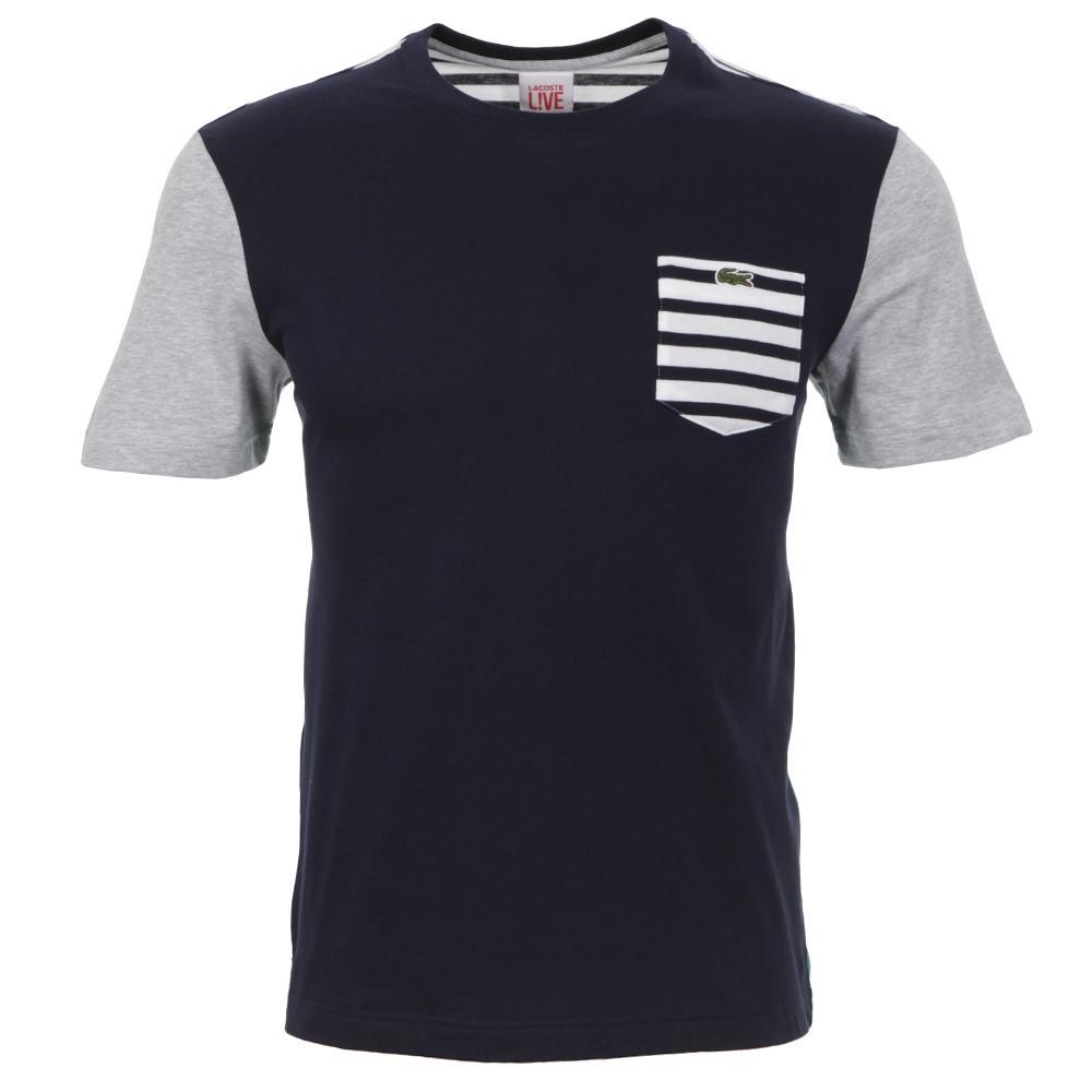 b466aa36db495 Lacoste Live Marine Argent Stripe Pocket Crew T-Shirt   Oxygen Clothing