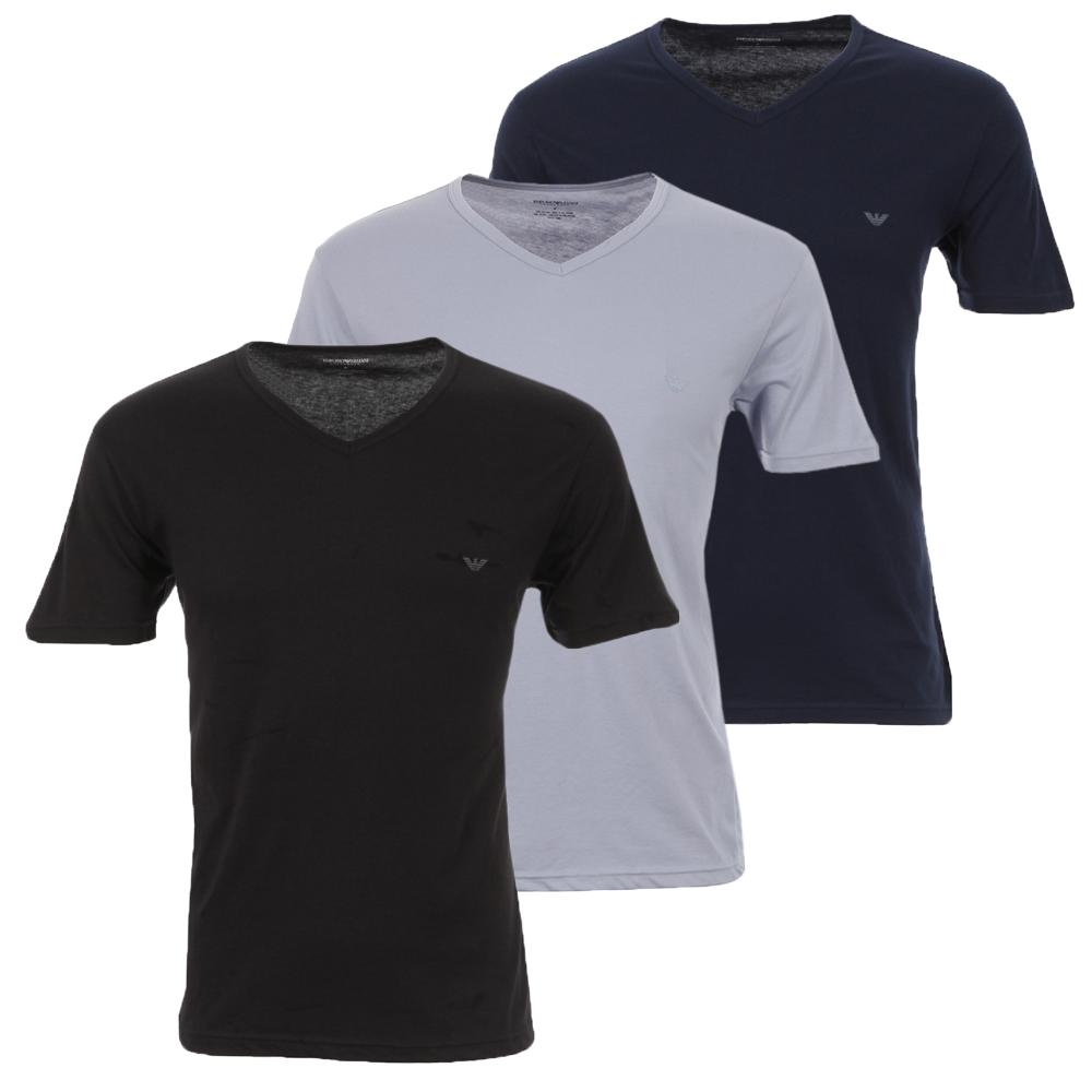 sneakers professional sale buy good Mens Multicoloured Armani Black/Blue/Marine Stretch Small Logo 3 Pack V  Neck T-Shirt