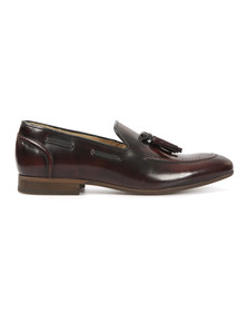 H By Hudson Mens Red Bordo Hi Shine Leather Slip On