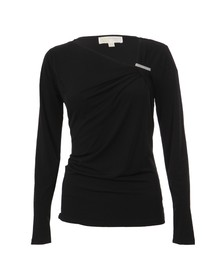 Michael Kors Womens Black Asymmetric Neck Logo Trim Top