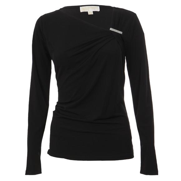 Michael Kors Womens Black Asymmetric Neck Logo Trim Top main image