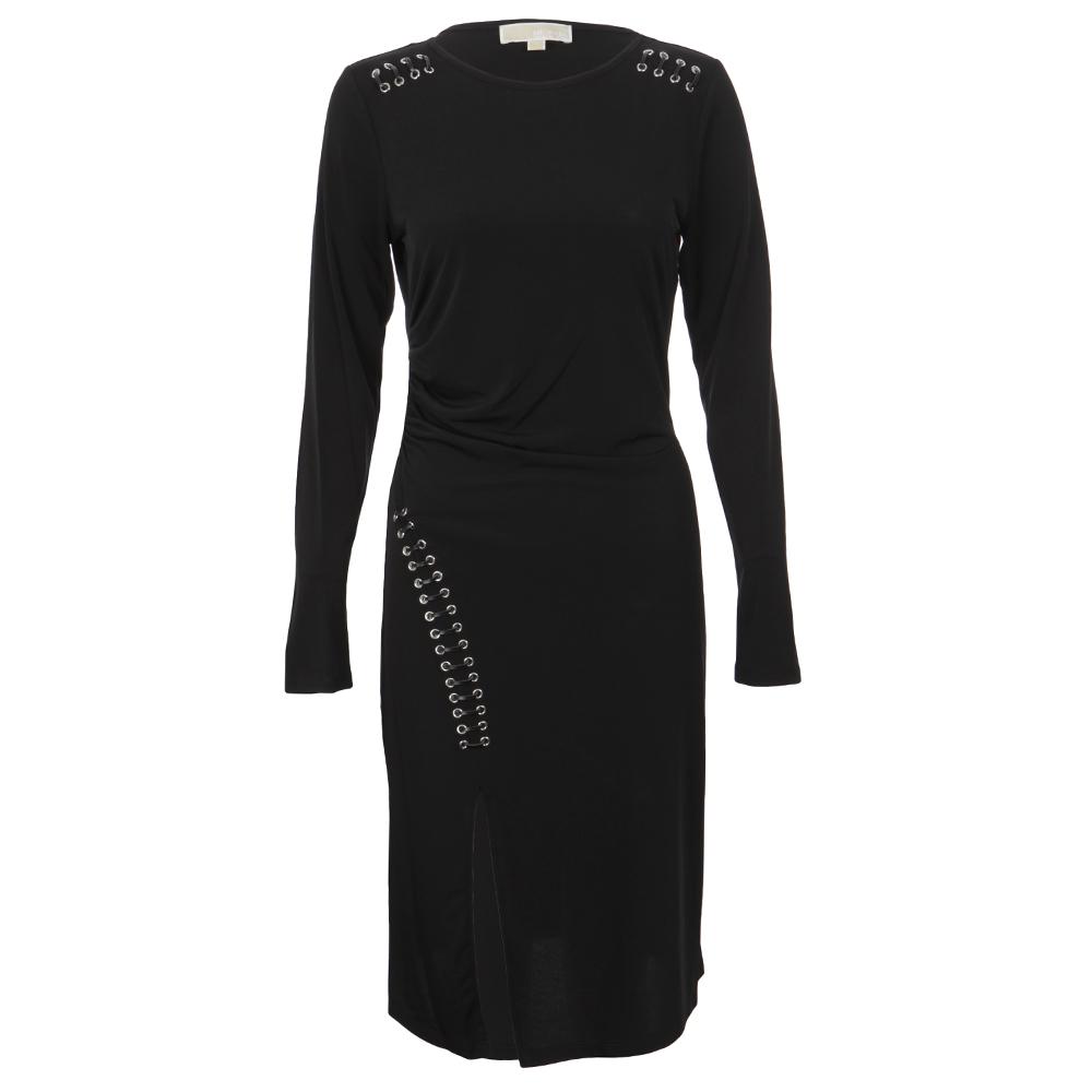 Long Sleeve Grommet Lace Dress main image