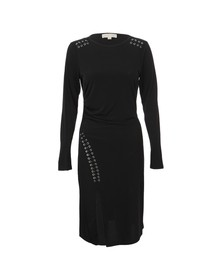 Michael Kors Womens Black Long Sleeve Grommet Lace Dress