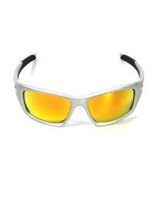 Oakley Mens Silver Oakley Valve Silver/Fire Iridium Polarized Sunglasses