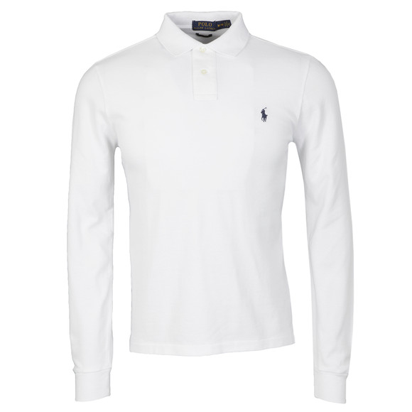 Polo Ralph Lauren Mens White L/S Slim Fit Polo