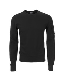 CP Company Mens Black Viewfinder Sleeve Crew Sweat