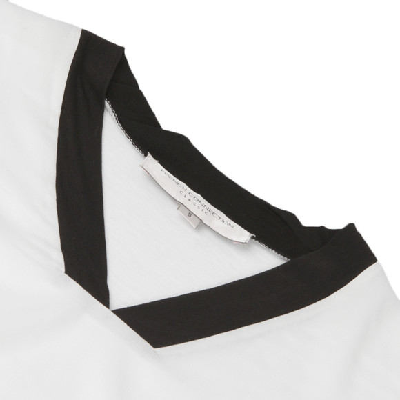 French Connection Womens White Polly Plains Blocked Collared Top main image