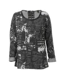 Maison Scotch Womens Grey Sweat Top With Leather Neckline