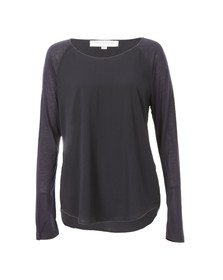 French Connection Womens Blue Polly Plains Long Sleeve T-Shirt