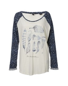 Maison Scotch Womens Off-white Raglan Long Sleeve Tee In Print