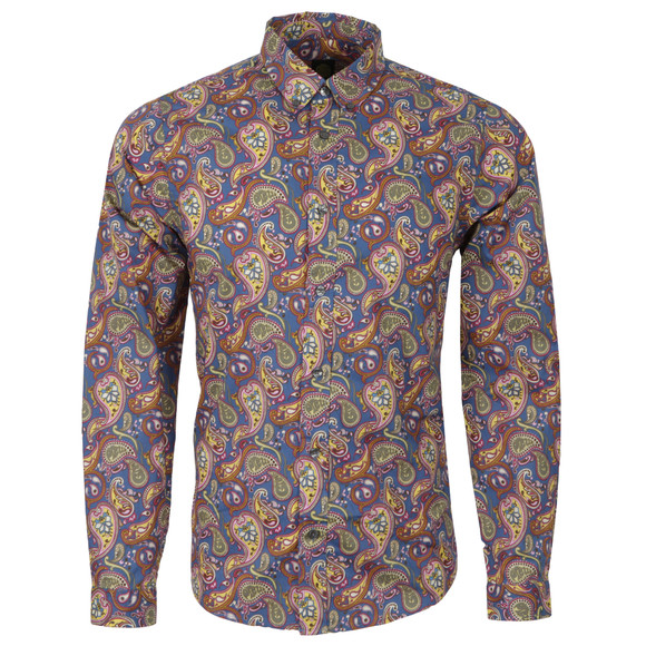Pretty Green Mens Multicoloured Vintage Paisley Cotton Shirt main image