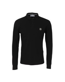 Stone Island Mens Black Tipped Long Sleeve Regular Fit Polo