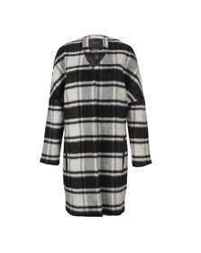 Maison Scotch Womens Black Throw On Jacket In Fluffy Check