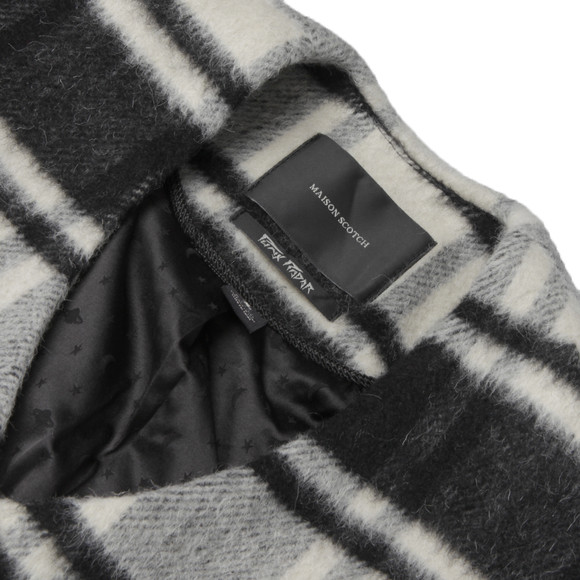 Maison Scotch Womens Black Throw On Jacket In Fluffy Check main image