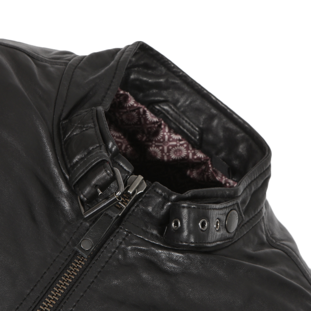 c33a35a43 ... Ted Baker Mens Black Visery Leather Jacket main image ...