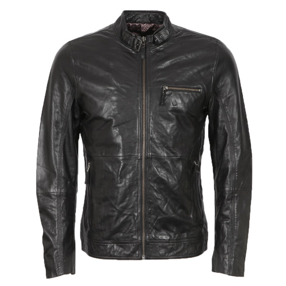 b22311e9a Ted Baker Mens Black Visery Leather Jacket