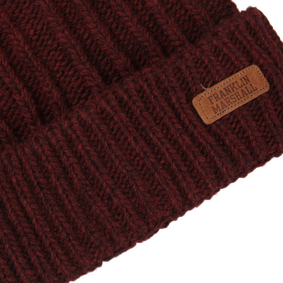 Franklin & Marshall Mens Red Small Logo Knitted Hat main image