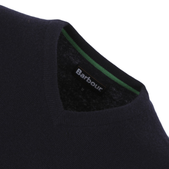 Barbour Lifestyle Mens Blue Lambswool V Neck Jumper main image
