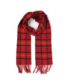 Barbour Lifestyle Mens Red Cardinal Tartan Lambswool Scarf