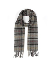 Barbour Lifestyle Mens Grey Tartan Lambswool Scarf