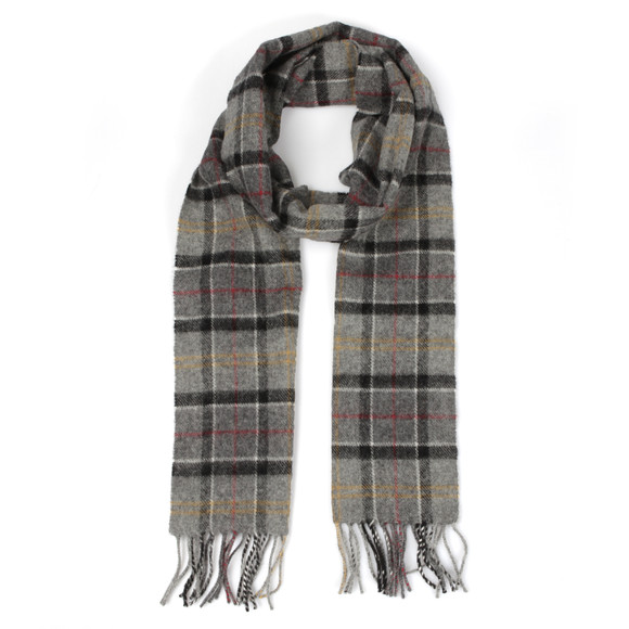 Barbour Lifestyle Mens Grey Modern Tartan Lambswool Scarf main image