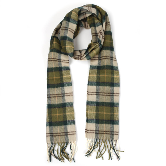 Barbour Lifestyle Mens Green Tartan Lambswool Scarf