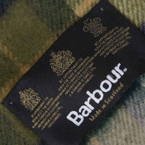Barbour Lifestyle Mens Green Tartan Lambswool Scarf main image