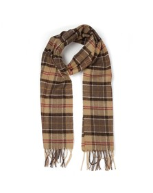 Barbour Lifestyle Mens Brown Tartan Lambswool Scarf