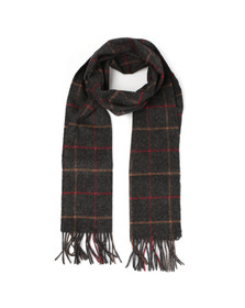 Barbour Lifestyle Mens Grey Tattersall Lambswool Scarf
