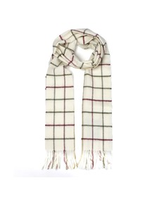 Barbour Lifestyle Mens Off-white Tattersall Lambswool Scarf