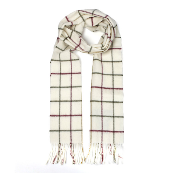 Barbour Lifestyle Mens Off-white Tattersall Lambswool Scarf main image
