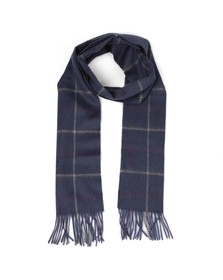 Barbour Lifestyle Mens Blue Tattersall Lambswool Scarf