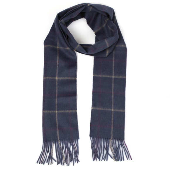 Barbour Lifestyle Mens Blue Tattersall Lambswool Scarf main image