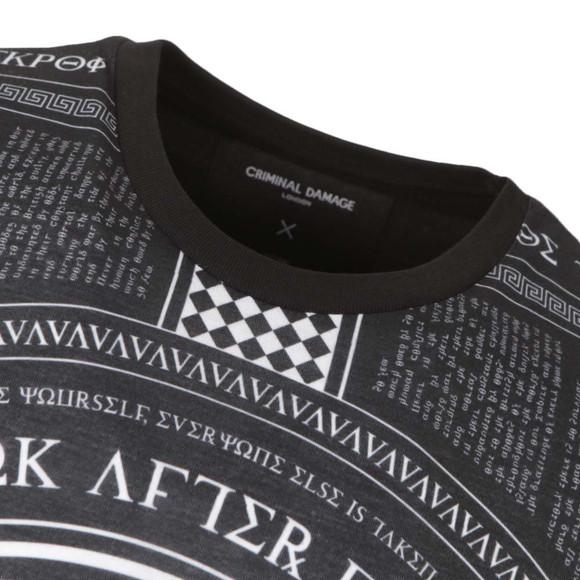 Criminal Damage Mens Black Script 47 Long T-Shirt main image
