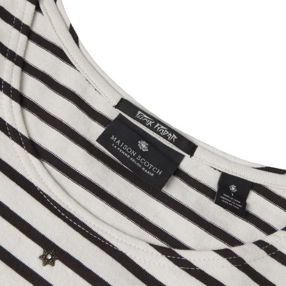 Maison Scotch Womens Black Breton Striped Top With Studs main image