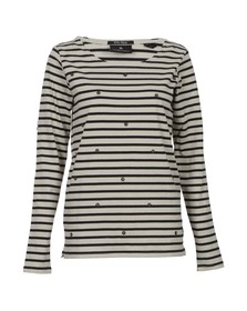 Maison Scotch Womens Black Breton Striped Top With Studs