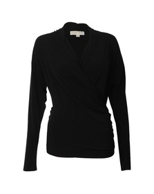 Michael Kors Womens Black Side Zip Wrap Top