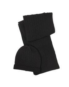 Hugo Mens Black Hat & Scarf Set