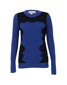 Michael Kors Womens Blue Lace Front Crew Jumper