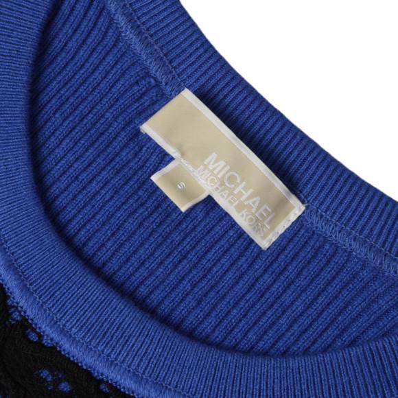 Michael Kors Womens Blue Lace Front Crew Jumper main image