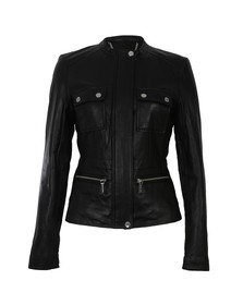 Michael Kors Womens Black Structured Leather Coat
