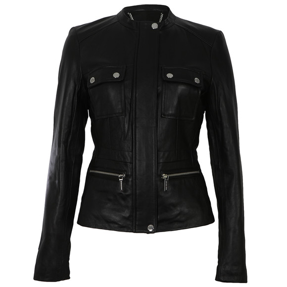 Michael Kors Womens Black Structured Leather Coat main image