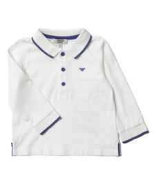 Armani Junior  Boys White Long Sleeved Tipped Polo