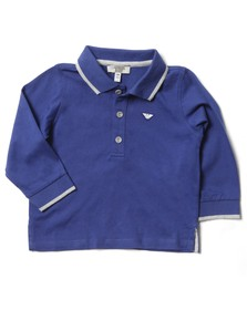 Armani Junior  Boys Blue Long Sleeved Tipped Polo