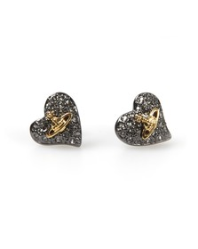 Vivienne Westwood Womens Black Tiny Diamante Heart Stud Earring