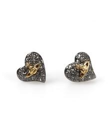 Vivienne Westwood Womens Black Tiny Diamante Heart Stud Earring