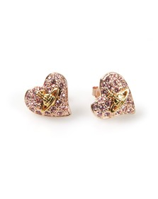 Vivienne Westwood Womens Pink Tiny Diamante Heart Stud Earring
