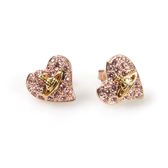 Vivienne Westwood Womens Pink Tiny Diamante Heart Stud Earring main image