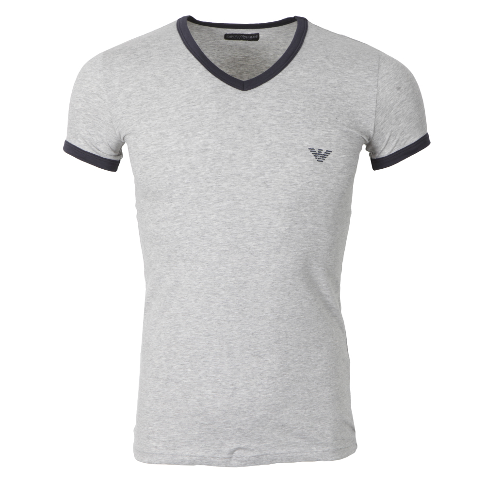Mens Neck V Scollo Shirt Grey T 43Ajq5RL